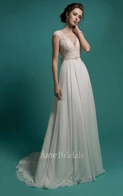 A-Line Floor-Length V-Neck Cap-Sleeve Zipper Chiffon Dress With Lace Appliques And Beading