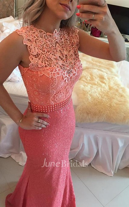 Timeless Sleeveless Lace Pearls Prom Dresses 2018 Mermaid Long Zipper Back