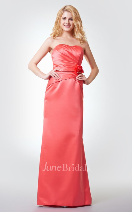 Sleeveless Floral A-line Ruched Long Satin Dress