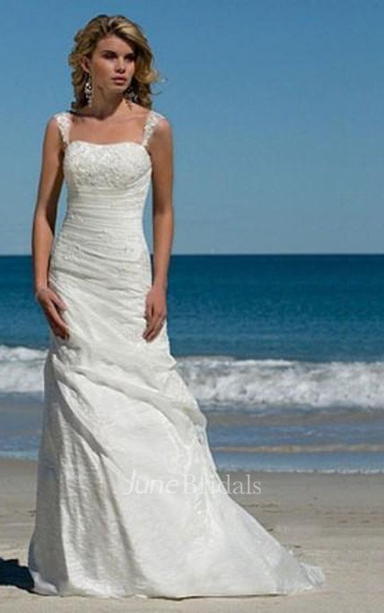 Simple A Line Spaghetti Straps Taffeta Summer Beach Bridal Wedding Dress