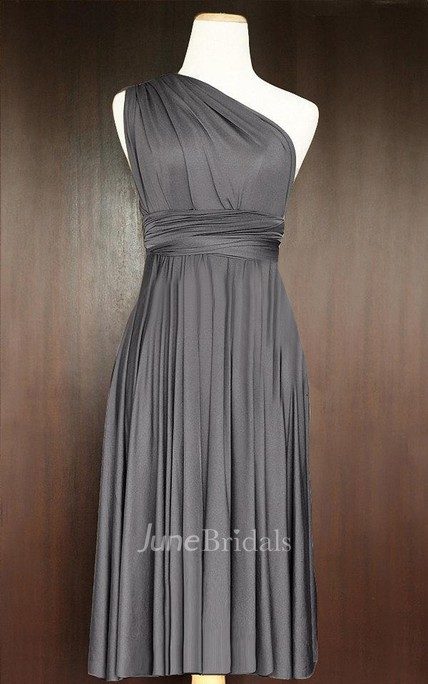 62a44d13b71 Short Straight Hem Slate Infinity Multiway Convertible Wrap Dress - June  Bridals