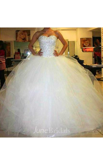 Sweetheart Tulle Beading Crystal Diamond Strapless A Line Wedding