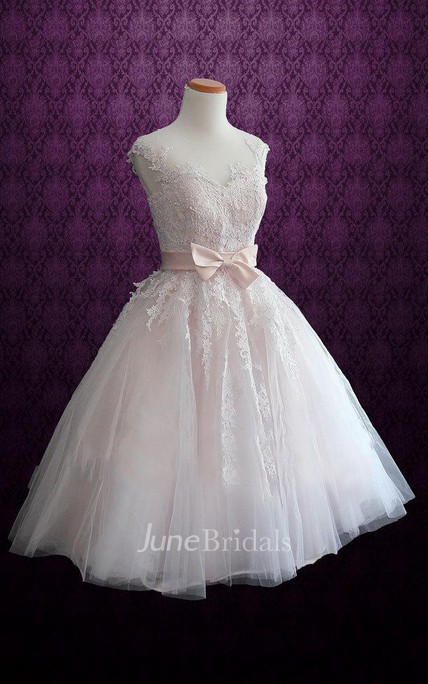 Short Tea-Length Tulle Lace Satin Weddig Dress