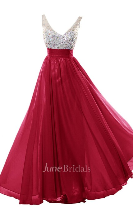 V-neckline Beading Ball Gown With Ruching Belt