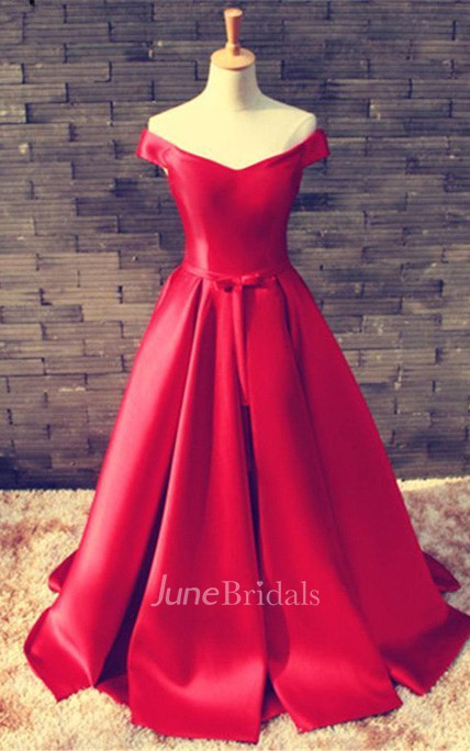 Elegant Red Off-the-shoulder 2018 Prom Dress Bowknot Lace-up
