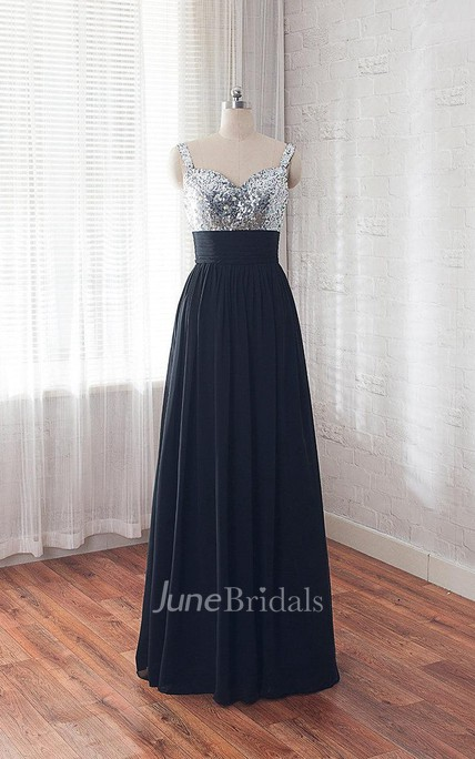 Sleelevess A-line Chiffon Dress With Sequined Bodice