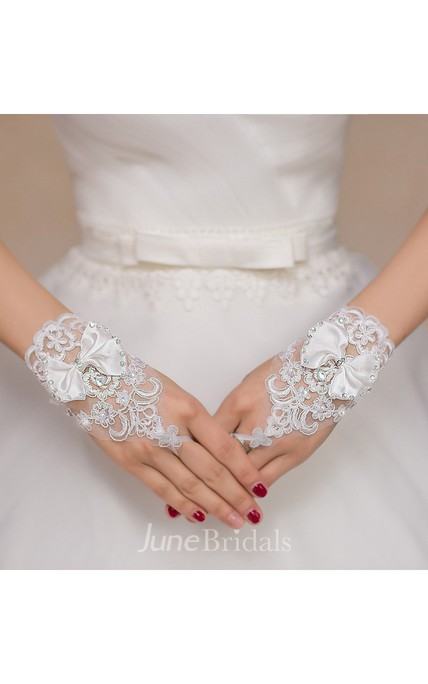 New White Bow Lace Diamond Hook Short Paragraph Gloves