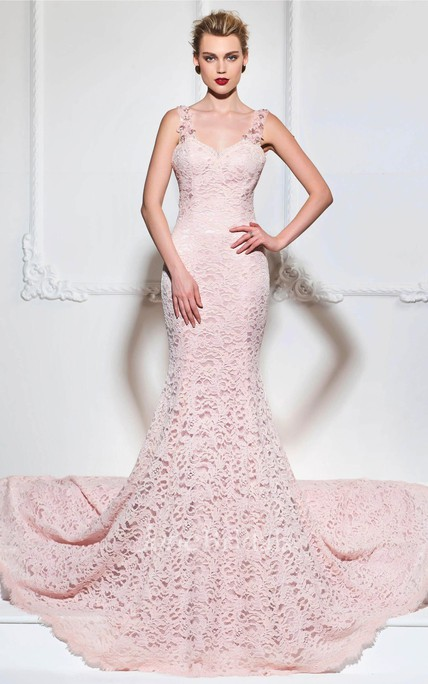 Sexy Mermaid Lace Gown With Floral Appliqued Straps And Open Back