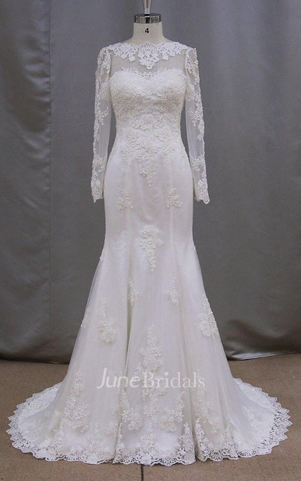 Modest High Neck Long Sleeve Lace Mermaid Wedding Dress