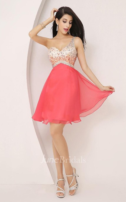 A-line One-shoulder Sleeveless Beading Pleats Short Mini Chiffon Homecoming Dress