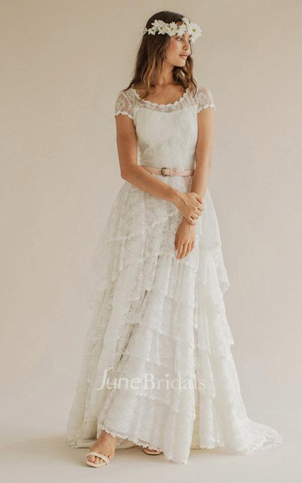 Boho Scoop Neck Cap Sleeve A-Line Tiered Weding Dress With Court Train