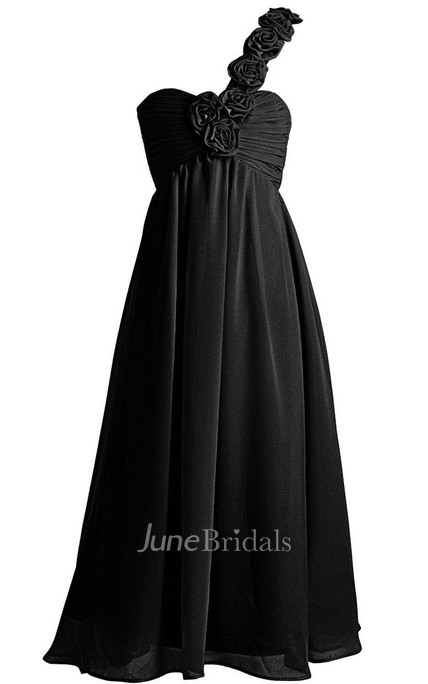 One-shoulder A-line Jersey Dress With Pleats