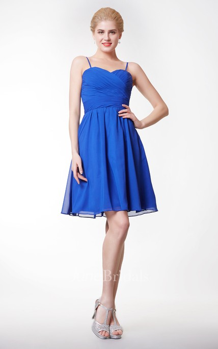 Simple Spaghetti Strap Short Chiffon A-line Dress With Open Back