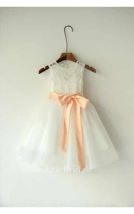 Ivory Lace Organza Flower Girl Dress With Peach Sash and Bow