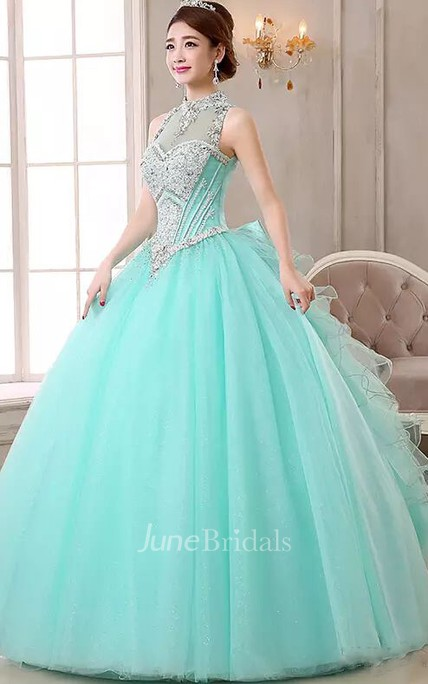7ac950dc218 Ball Gown High Neck Sleeveless Floor-length Organza Tulle Prom Dress with  Beading and Ruffles - June Bridals