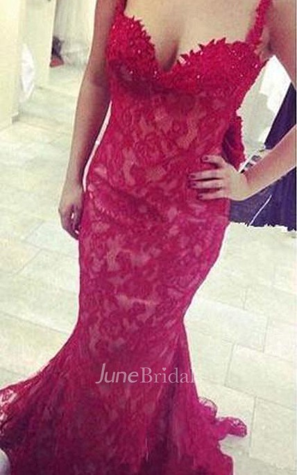 Gorgeous Red Lace Mermaid 2018 Evening Dress Bowknot Straps