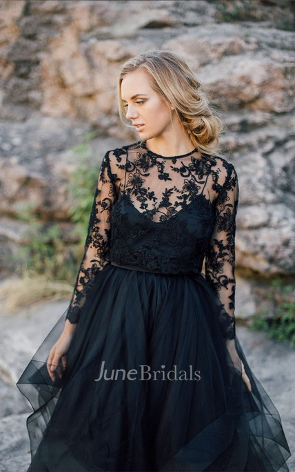 A-Line Scoop Floor-length Long Sleeve Illusion Back Dress With Appliques Black Wedding Dress