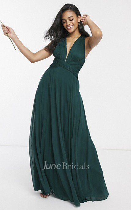Sexy Sleeveless And Straps Back Plunging Neckline Bridesmaid Dress With Ruching