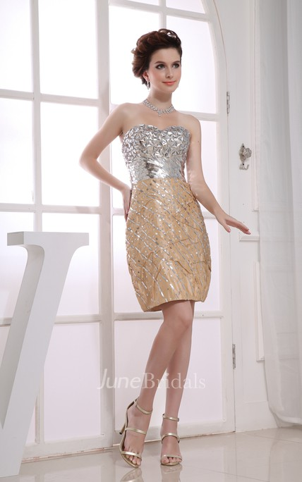 Shining Strapless Short Pencil Dress With Sequins