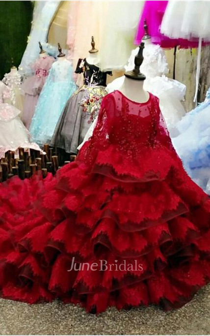 Ruffle Scoop Long Sleeve Beading Tier Ball Gown Flower Girl Dress