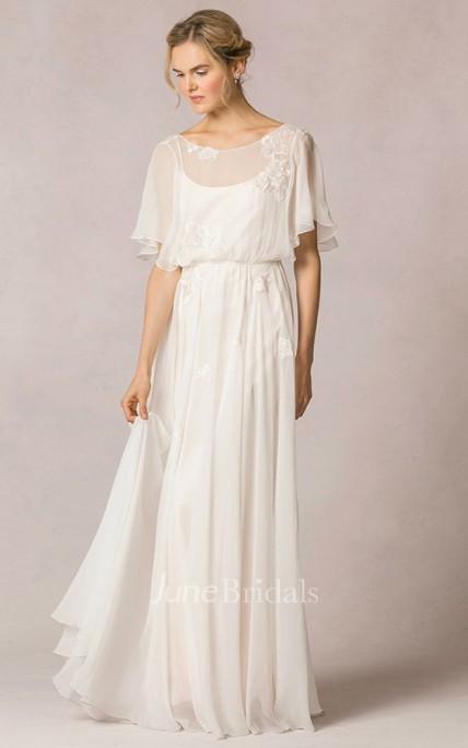 99697157f32 Sheath Scoop-Neck Floor-Length Poet-Sleeve Appliqued Chiffon Wedding Dress  With Pleats - June Bridals