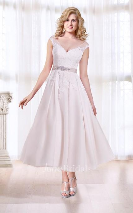 Cap Sleeve Tea Length Wedding Dress With Illusion Back June Bridals