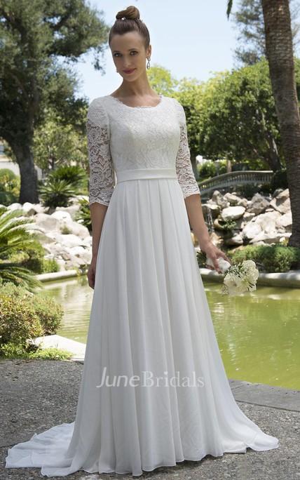 6c8f389b346 Informal Modest Beach Scoop Neck Lace Chiffon Wedding Dress With 3-4  Sleeves - June Bridals