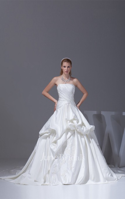 c3a44274637 Ruched Criss-Cross Strapless Bodice Gown with Ruffles and Embellishment -  June Bridals