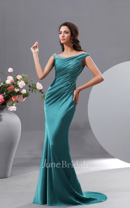 Satin Stretch Off-Shoulder Siren Sexy Gown With Sequins