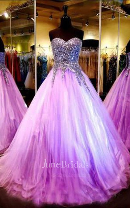 Luxurious Sweetheart Princess Tulle Evening Dress Crystals Sequins