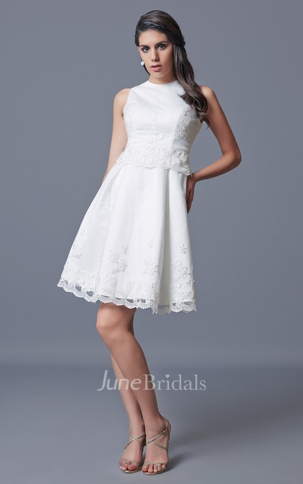 Jewel Neckline Short Satin Dress With Embroidery