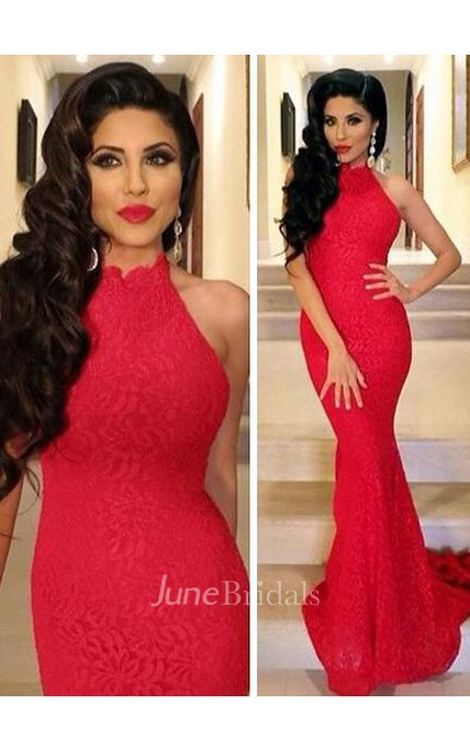 4bd319a1451 Lace Sexy Mermaid Prom Dress 2018 Red High-neck Sleeveless Evening Gowns -  June Bridals