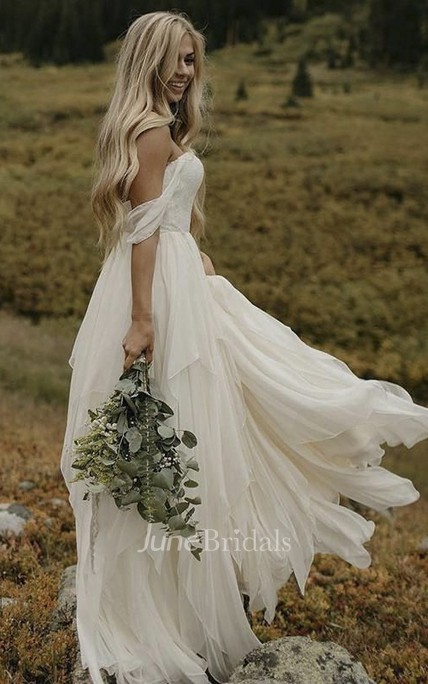 Sweetheart Off-the-shoulder Ethereal Chiffon Floor Length Bridal Gown