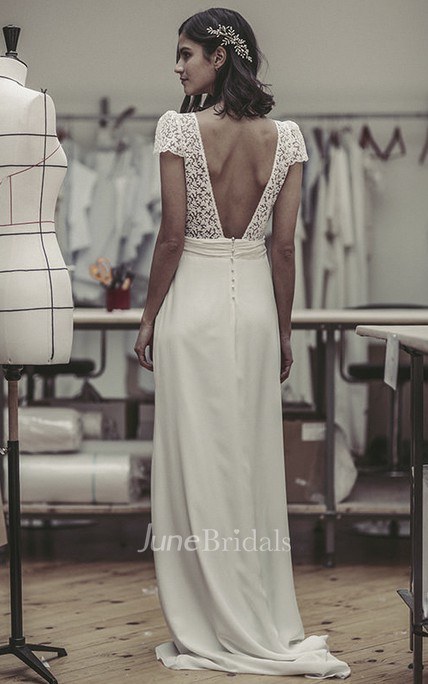 Plunging Cute Puff Sleeve Open Back Bridal Gown With Lace And Satin