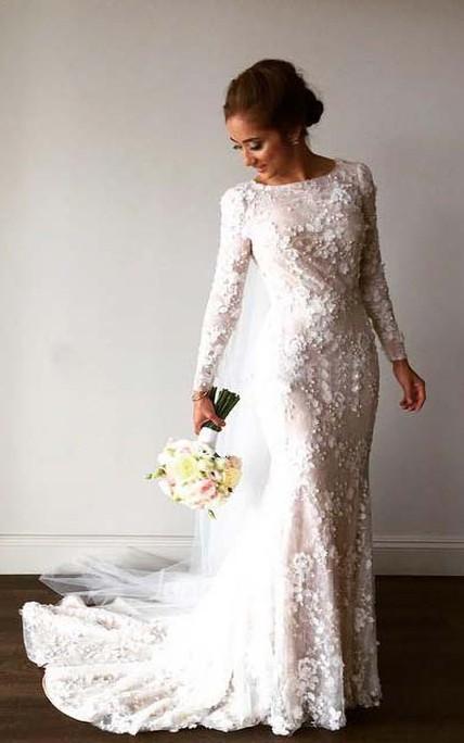 9836c33b444b Vintage Long Sleeve 3D-floral Appliques Crystal Mermaid Wedding Dress -  June Bridals
