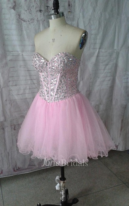Mini Sweetheart Tulle Dress With Beading And Ruffles