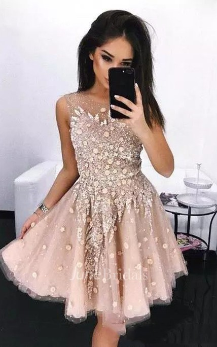 c961cc5782 A-line Bateau Sleeveless Beading Flower Pleats Sequins Knee-length Tulle  Sequins Homecoming Dress - June Bridals