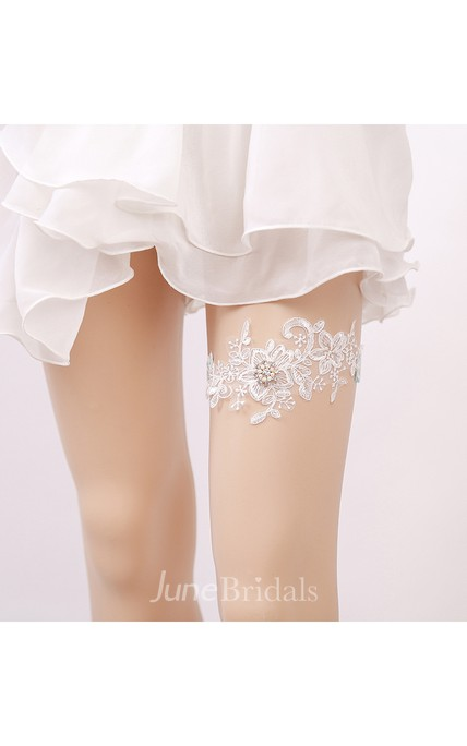 Lace Handmade Beaded Lace Elastic Garter Within 16-23inch