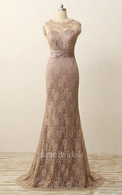 Trumpet Maxi Sleeveless Pleats Beading Lace Satin Dress