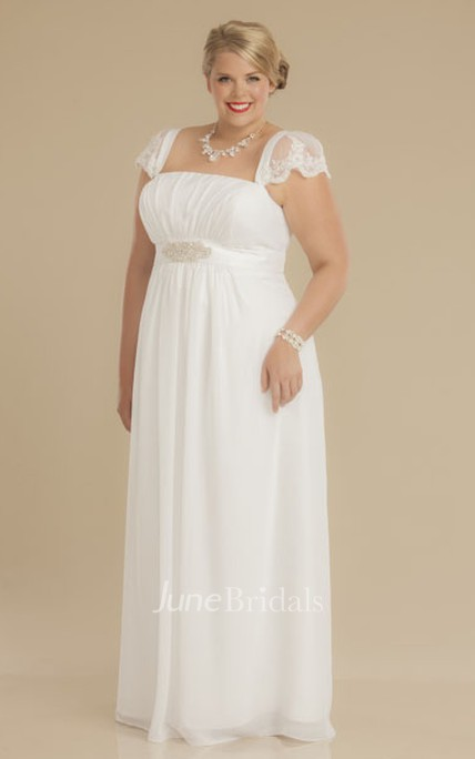 d7b9798cab32e Sheath Square-Neck Ruched Empire Cap-Sleeve Chiffon Plus Size Wedding Dress  With Waist Jewellery - June Bridals