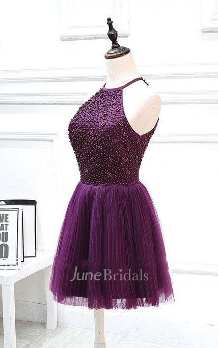 Short Halter Beaded Dress With Pleats