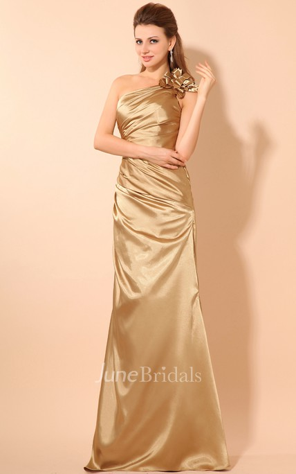 Asymmetrical One-Shoulder Dress With Ruching And Flower