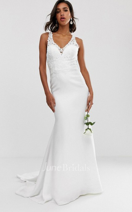 Ethereal Chiffon Sheath Straps Button Back Wedding Dress with Applique