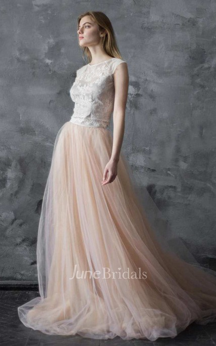 f13372e31b55 Scoop-Neck Cap-Sleeve Lace Top Tulle A-Line Dress With Sweep Train - June  Bridals