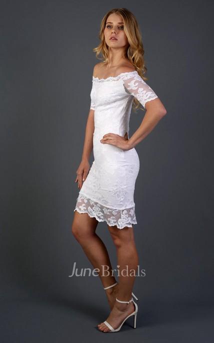 Full Lace Off Shoulder Short Sheath Wedding Dress With Detachable Skirt