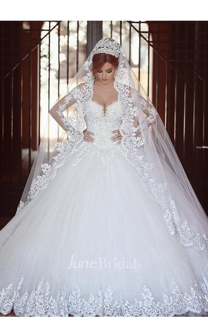 Lace Ball Gown Tulle Long Sleeves Off The Shoulder Court Train Wedding Dresses