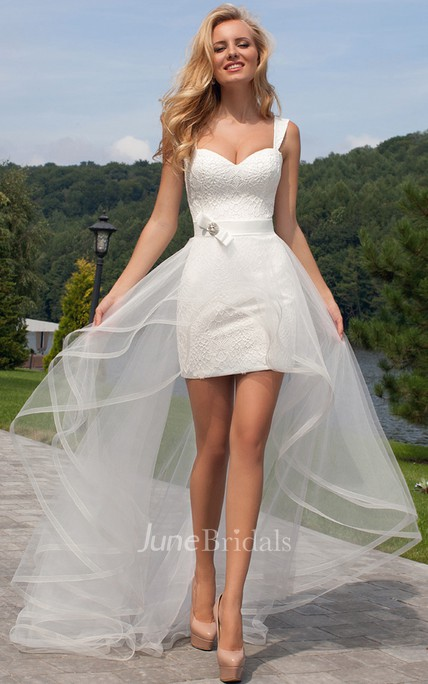 Short Straps Lace Wedding Dress With Corset Back