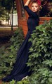 Dark Blue Blue Beautiful Long Pretty Full Skirt With Slit Emerald Bright Blue Green Dress