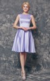 A-line High Neck Short Satin Dress Bridesmaid Dress