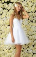 A-Line Short Sweetheart Sleeveless Tulle Dress With Beading And Ruching